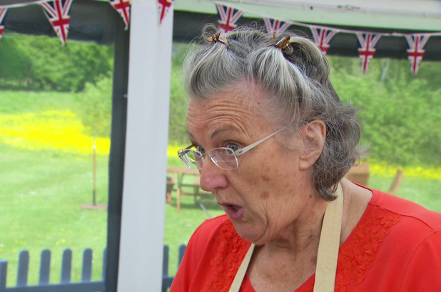 Diana removes Iain Watters Baked Alaska from her freezer and leaves the desert to melt. A annoyed Iain throws it into the bin on 'The Great British Bake Off', Shown on BBC One HD - 28 Aug 2014