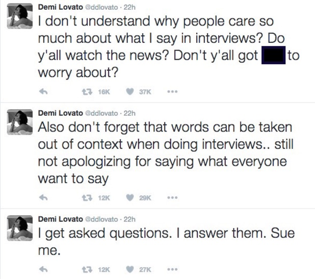 Demi Lovato tweets about interview comments 4 October