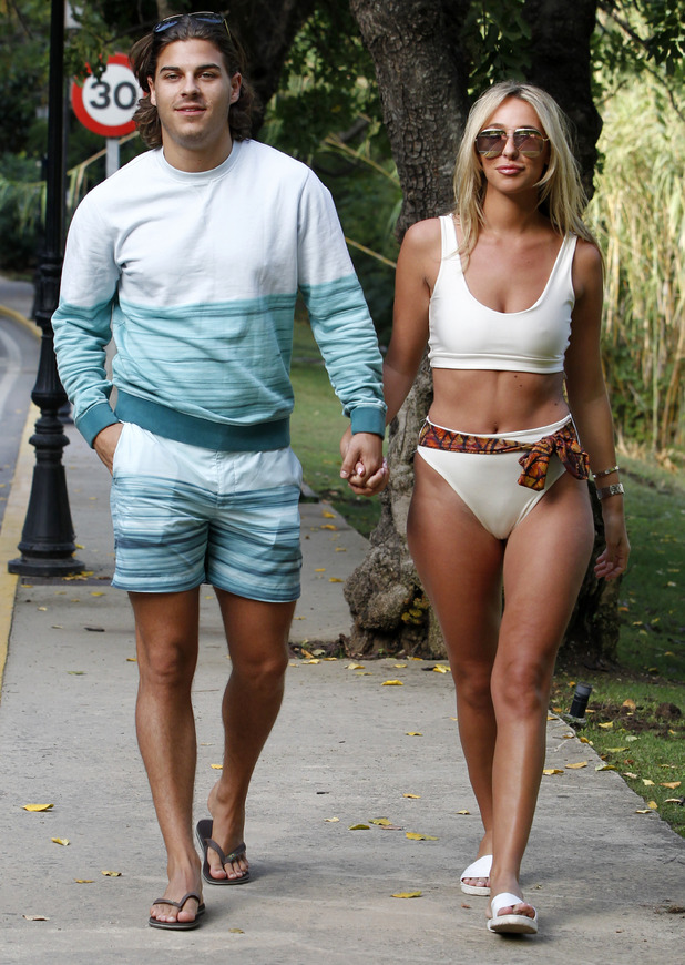 Amber Dowding and Chris Clark, TOWIE filming, Marbella 26 September