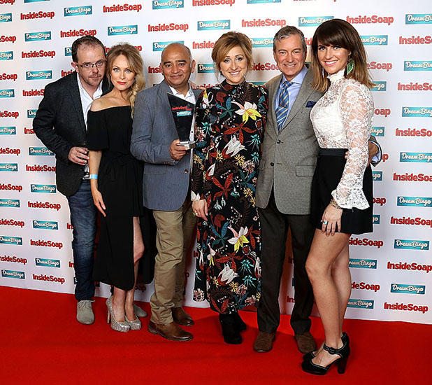 Liam Fox, Michelle Hardwick, Bhasker Patel, Charlotte Bellamy, John Middleton and Laura Norton attend the Inside Soap Awards at The Hippodrome on October 3, 2016 in London, England. (Photo by Mike Marsland/Mike Marsland/WireImage)