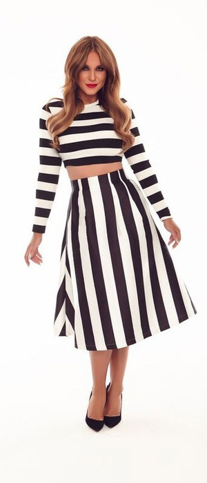 Vicky Pattison launches new Honeyz collection, black and white stripe dress £45.99, 14 October 2016