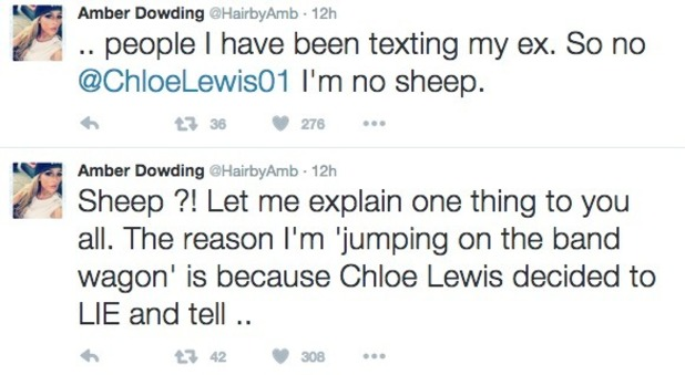 Amber Dowding tweets about Chloe Lewis, 12 October