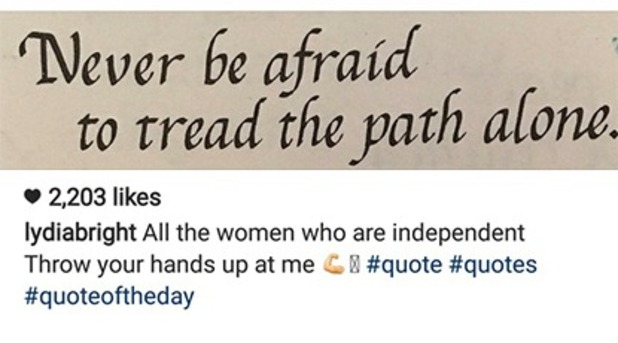 TOWIE's Lydia Bright channels Beyoncé with Instagram quote, 14/10/16
