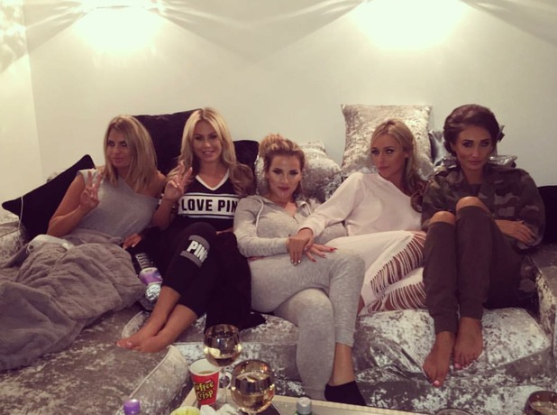 Megan McKenna, Georgia Kousoulou, Amber Dowding, Kate Wright and Danielle Armstrong watch TOWIE, 13/10/16