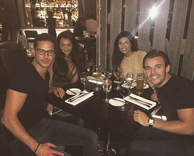 Scott Thomas, Kady McDermott, Nathan Massey and Cara De La Hoyde have dinner before going to Iain Stirling gig, 12/11/16
