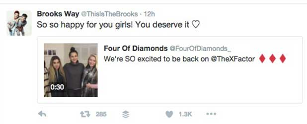 Brooks Way wish Four of Diamonds good luck in X Factor 10 October 2016