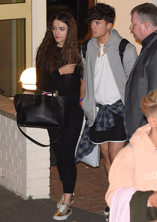 Departures from 'The X Factor' live show studio Ryan Lawrie and Emily Middlemas