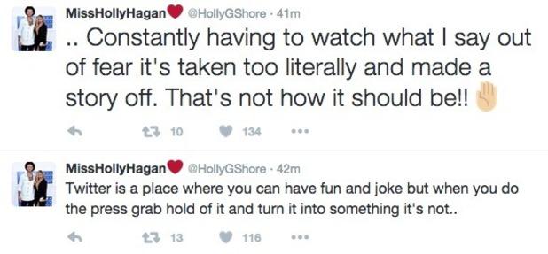 Holly Hagan tweets about social media 20 October