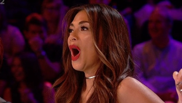 Nicole Scherzinger reacts to flasher on The Xtra Factor 16 October