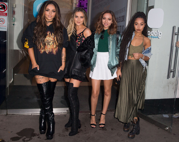 The Little Mix ladies are pictured outside the BBC Radio 1 studios, London, 17 October 2016