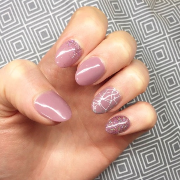 Helen Flanagan shows off gorgeous embellished nude nails, thanks to Notorious Nails in Glasgow, 20 October 2016