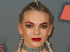 X Factor's Louisa Johnson rocks glittery red lips and eyebrows at the KISS FM Haunted House party