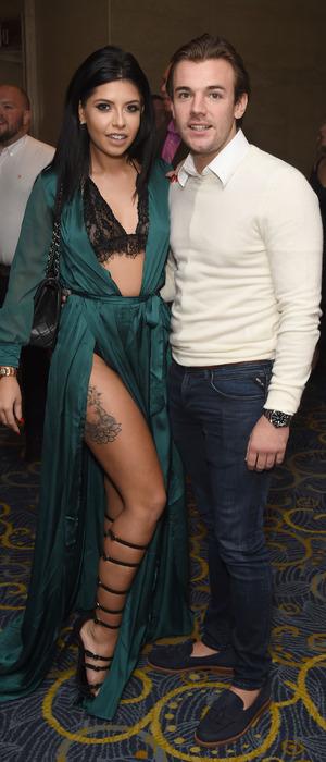 Love Island stars Cara de la Hoyde and Nathan Massey at the Nordoff Robbins Dinner, London, 24 October 2016
