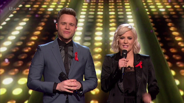 Olly Murs and Caroline Flack presenting the Jukebox Night edition of 'The X Factor'. Broadcast on ITV1 HD.