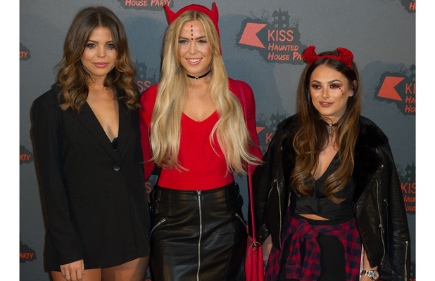 TOWIE stars Chloe Meadows, Chloe Lewis and Courtney Green at the KISS FM Haunted House Party, London, 27 October 2016