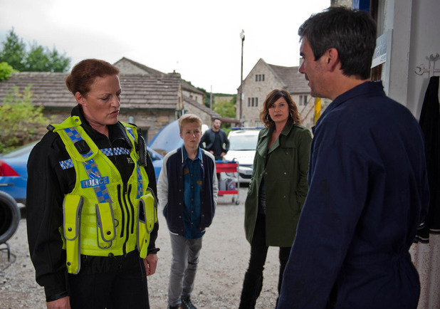 Emmerdale, the police visit Cain, Fri 28 Oct