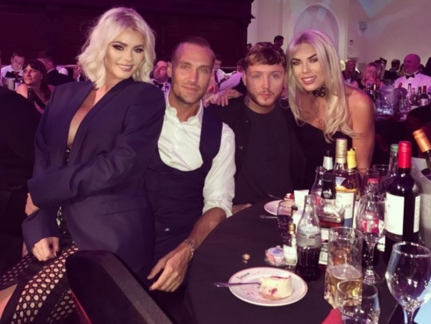 Chloe Sims sits on Callum Best's knee at charity event in Surrey - 28 October 2016