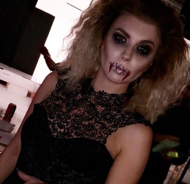 Love Island star Olivia Buckland shows off her Halloween look on a shoot with Quiz clothing, 26 October 2016