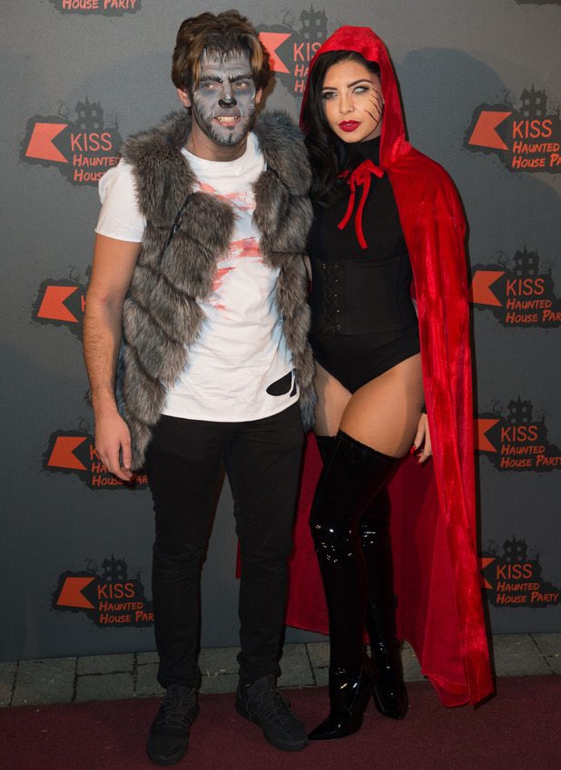 Love Island stars Cara de la Hoyde and Nathan Massey dress up for KISS FM's Haunted House Party, London, 26 October 2016