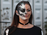 TOWIE star Courtney Green filming the Halloween special at Thorpe Park, Chertsey, 26 October 2016