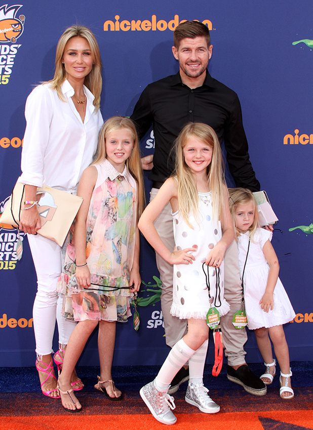 Nickelodeon's Kids' Choice Sports 2015 Awards held at UCLA's Pauley Pavillion Steven and Alex Gerrard with their kids