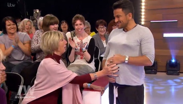 Loose Women: Peter Andre wears fake baby bump after simulating childbirth 28 October 2016