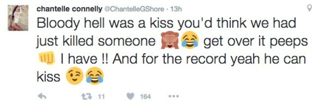Chantelle Connelly tweets about kiss with Gaz Beadle, Geordie Shore 2 November