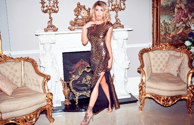 Love Island star Olivia Buckland launched Quiz clothing collection, gold dress £79.99, 6 November 2016