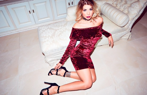 Love Island star Olivia Buckland launches Quiz clothing collection, Bardot-inspired red velvet dress, 6 November 2016