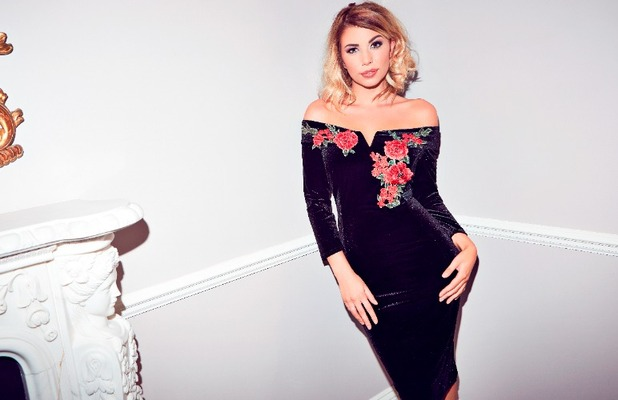 Love Island star Olivia Buckland launches Quiz clothing collection, velvet dress £39.99, 6 November 2016