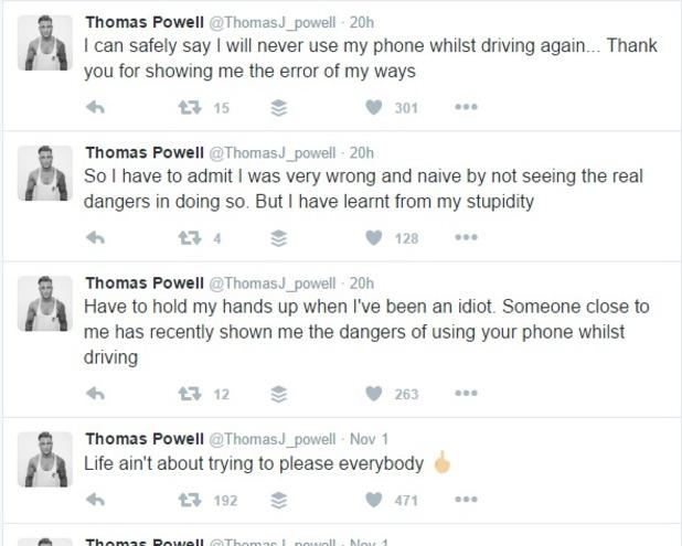 Tom Powell raises awareness of dangers of using phone while driving 2016