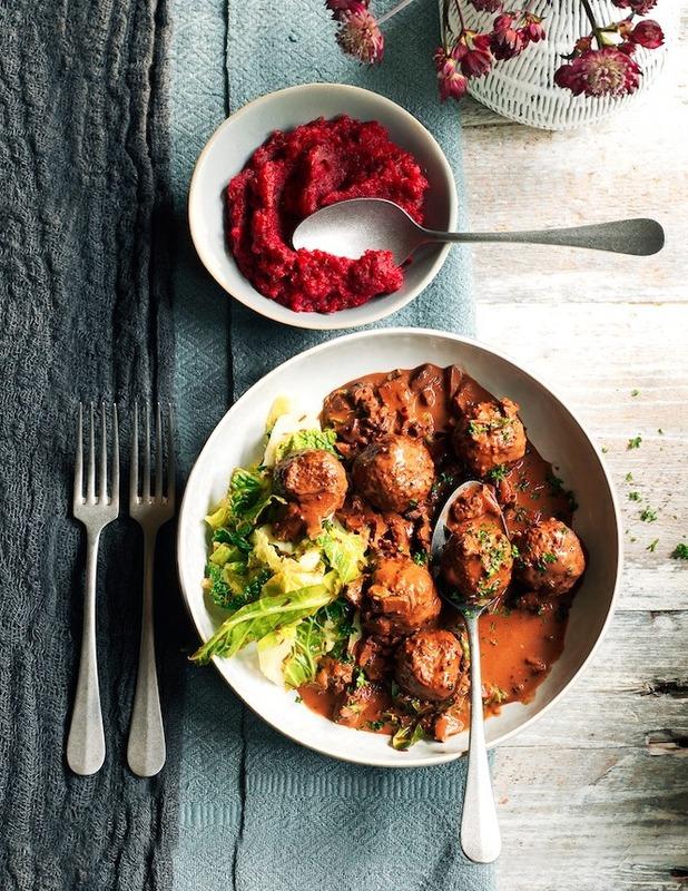 signe johansen's Venison Meatballs with Wild Mushroom & Chocolate Sauce