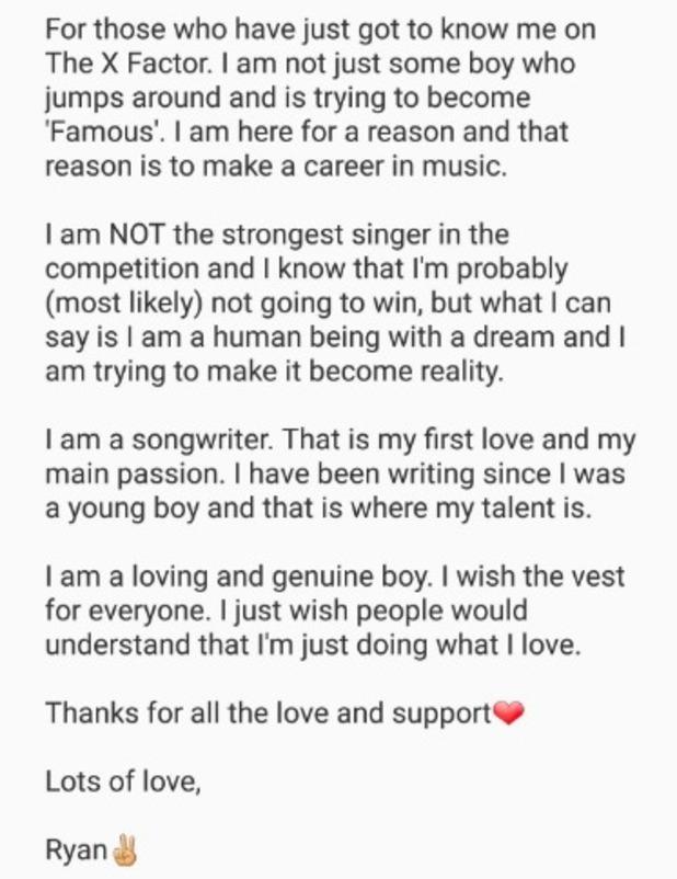 Ryan Lawrie statement on Twitter, X Factor 30 October