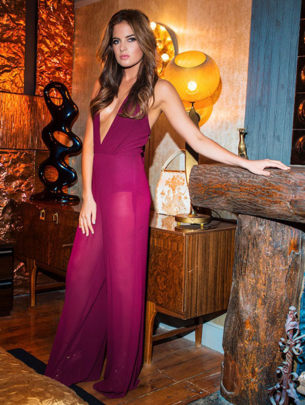 Made In Chelsea star Binky Felstead unveils her Christmas collection for In The Style, magenta sheer jumpsuit and body, 2 November 2016