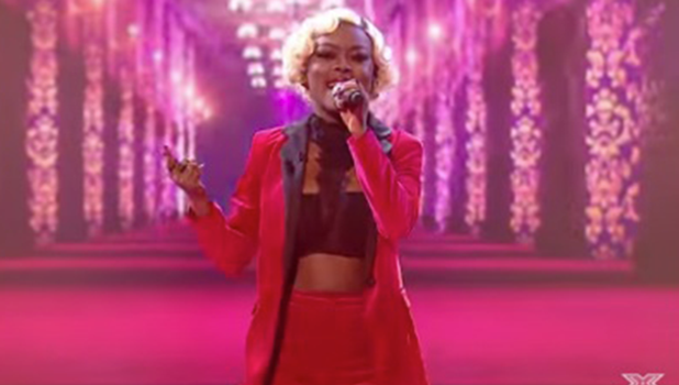 Gifty Louise performing on X Factor's Fright Night ITV2, 30 October 2016