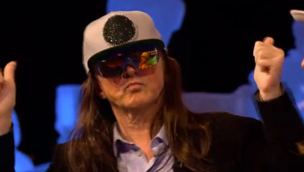 Louis Walsh dresses as Honey G on Celebrity Juice 2016