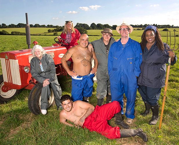 Ann Widdecombe, Gemma Collins, father and son dance duo, Stavros Flatley, Joe Pasquale, Peter Davison and Alison Hammond Sugar Free Farm ITV