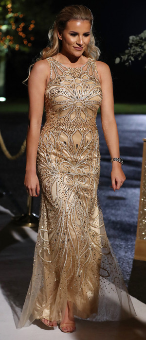 TOWIE star Georgia Kousoulou wearing gold gown during TOWIE finale, 6 November 2016