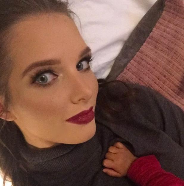 Helen Flanagan selfie with dark red lipstick, 28 September 2016