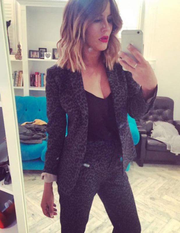 Caroline Flack wears Topshop suit on her birthday, 9 November 2016