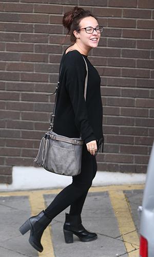 Pregnant Stephanie Davis outside ITV Studios 2016