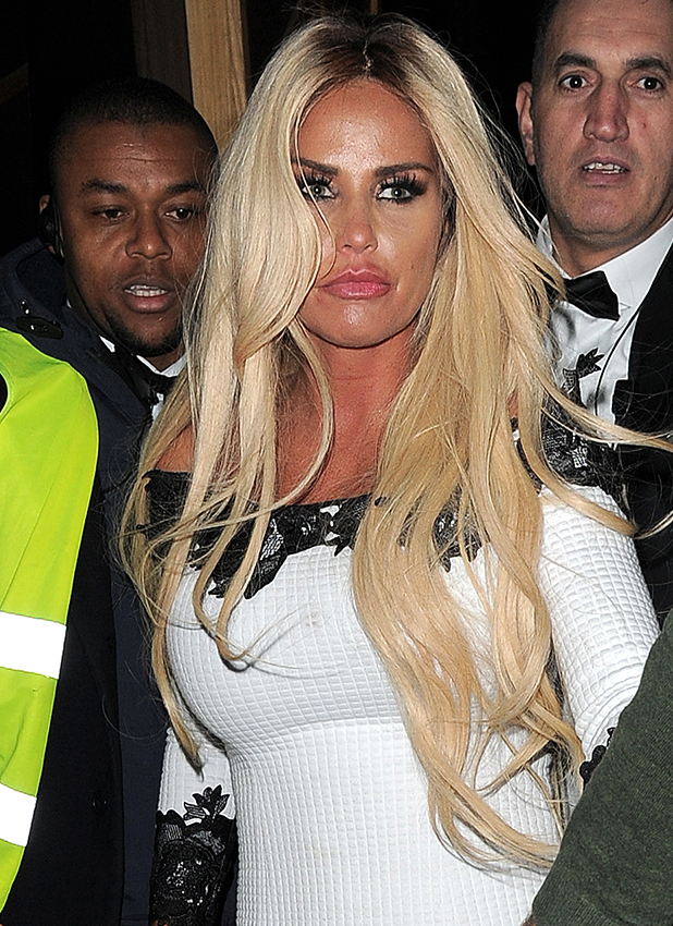 Katie Price seen on a night out with friends arriving at different clubs in London including Vanilla, DSTRKT and Cirque le Soir. London. UK
