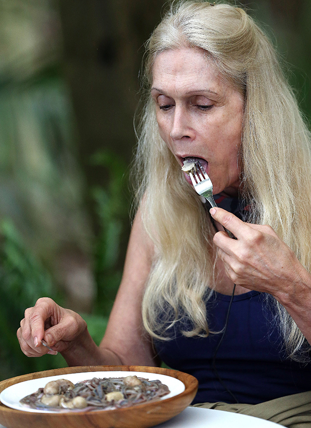 'I'm a Celebrity, Get Me Out Of Here!' TV Programme, Australia - 16 Nov 2015 Bushtucker Trial: Disaster Chef - Lady Colin Campbell eating 'Spaghetti Bollocknaise' Turkey Testicles and Sand Worms