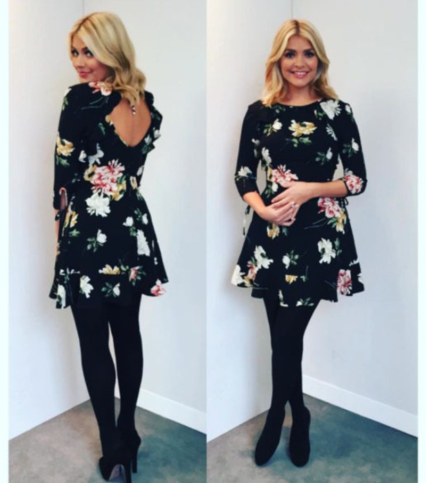 This Morning star Holly Willoughby wearing Topshop dress, Instagram, 21 November 2016
