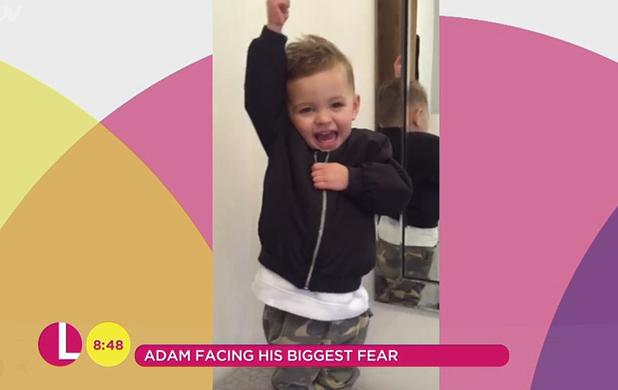 Adam Thomas' son Teddy records a message for Lorraine 2016