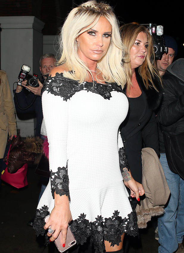 Katie Price sighted leaving the The School Of Life: Katie Price and Philosophy talk on November 16, 2016 in London, England. (Photo by Mark Robert Milan/GC Images)