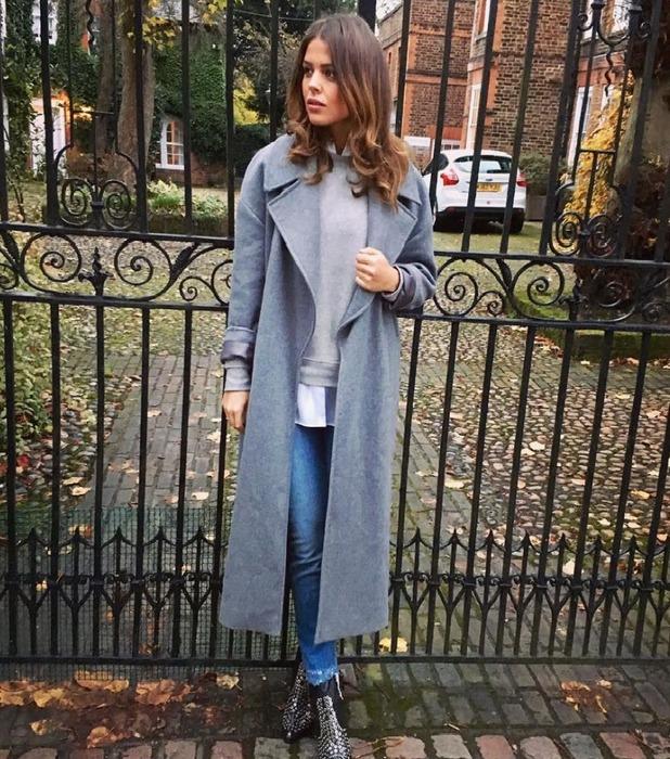 TOWIE star Chloe Lewis wearing River Island coat, Instagram, 30 November 2016