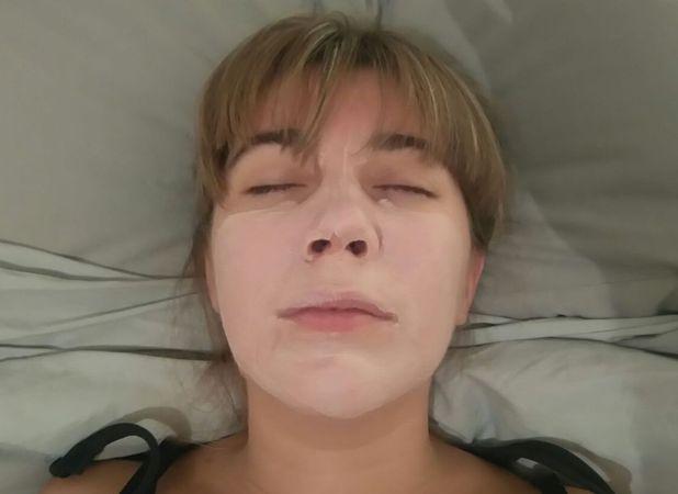Sarah testing out a face mask