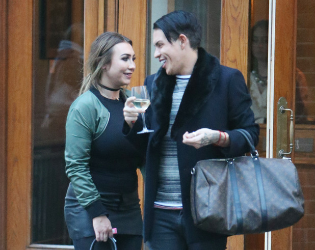Lauren Goodger and Bobby Norris having a meal and a drink at the Mulberry Bush pub