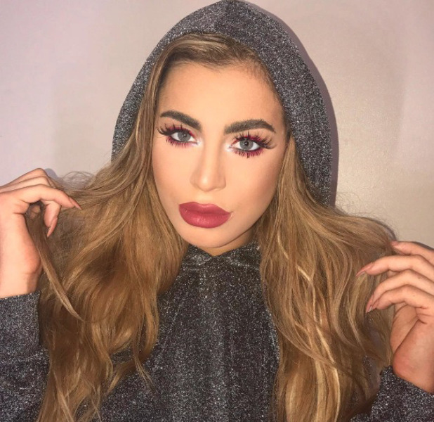 Love Island star Katie Salmon wearing red eye make-up and matching lips, Instagram